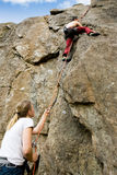 Zwei Bergsteiger Stockbilder