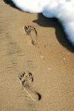 Zwei bezahlt Drucke im Sand Lizenzfreie Stockfotografie