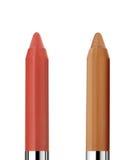 Zwei bilden die Bleistifte, die auf Weiß lokalisiert werden Lizenzfreie Stockbilder
