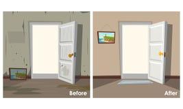 Zwei Bilder des Raumes sauber und schmutzig vektor abbildung