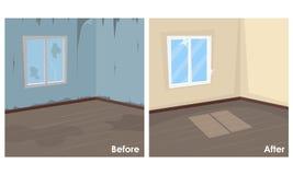 Zwei Bilder des Raumes sauber und schmutzig stock abbildung