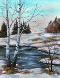 Zwei Birken in dem Fluss, Frühling Lizenzfreie Stockfotografie