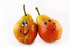 Zwei Birnen mit einer Freude Lizenzfreies Stockbild