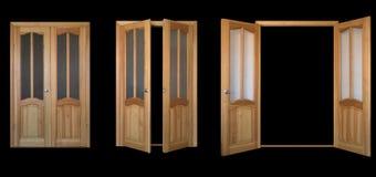 Zwei-Blatt Tür über schwarzem 3view Stockfotos