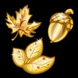 Zwei Blatt und Eichel gemacht vom Gold Karikatur polar mit Herzen vektor abbildung