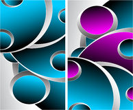 Zwei blaue magentarote graue abstrakte Hintergründe Stockbilder