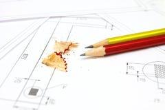 Zwei Bleistifte, Pläne und Lichtpause Lizenzfreies Stockbild
