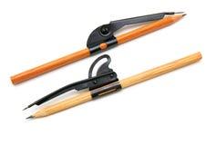 Zwei Bleistifte und Kompassse Stockfoto