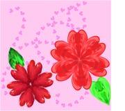 Zwei Blumen und Herzen Stockfotografie