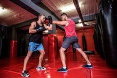 Zwei boxende Männer, die zusammen trainieren Lizenzfreie Stockfotografie