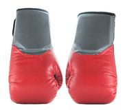 Zwei Boxhandschuhe lokalisiert auf weißer Hintergrund-Front stockbilder