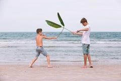 Zwei Brüder eines Jugendlichen, der auf dem Ozean, die Freundschaft O spielt stockfotografie