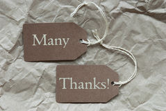 Zwei Brown-Aufkleber mit viel Dank-Papierhintergrund Lizenzfreie Stockfotos