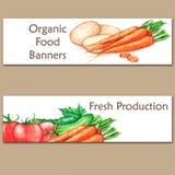 Zwei bunte Aquarellfahnen mit neuem biologischem Lebensmittel Lizenzfreie Stockfotografie