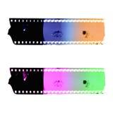 Zwei bunte Filmstreifenrahmen Lokalisiert auf Weiß Lizenzfreies Stockfoto
