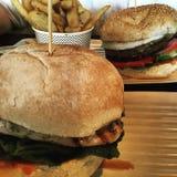 Zwei Burger und Chips Stockbilder