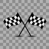 Zwei checkered laufende Markierungsfahnen Lizenzfreie Stockfotografie