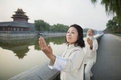 Zwei chinesisches Volk, das Tai Ji durch den Kanal, Peking übt Stockbild
