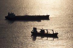 Zwei Containerschiffe Lizenzfreies Stockfoto
