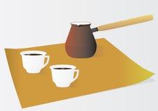 Zwei Cup Morgenkaffee stock abbildung