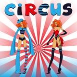 Zwei dünne Zirkusmädchen Lizenzfreie Stockbilder