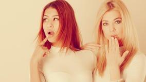 Zwei Damen im ungeschickten Moment lizenzfreies stockbild