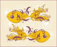 Zwei dekorative Schwimmenfische Stockfotos