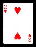 Zwei der Spielkarte der Herzen, Stockbild