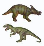 Zwei Dinosaurier auf einem weißen Hintergrund lizenzfreies stockbild