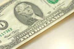 Zwei Dollar mit einer Anmerkung 2 Dollar Stockbilder