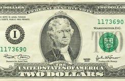 Zwei Dollar mit einer Anmerkung 2 Dollar Stockbild