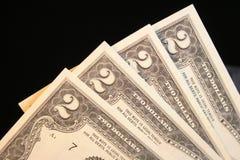 Zwei Dollarschein Stockbild