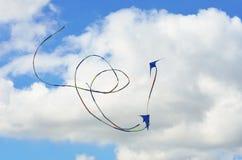 Zwei Drachen, die in Bildung fliegen Stockfotografie