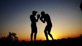 Zwei dunkle Männerfiguren, bei Sonnenaufgang, gegen das Licht, Verpacken, Fighting im Sparring, Training in einem Paar Techniken  stock footage