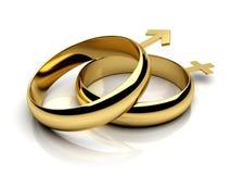 Zwei Eheringe mit männlich-weiblichen Symbolen Stockfoto