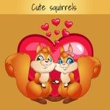 Zwei Eichhörnchen in der Liebe auf dem Herzhintergrund lizenzfreie abbildung
