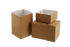 Zwei einfache Kartonkästen Stockfotos