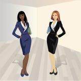 Zwei Einkaufsmädchen, Vektorillustration Stockfotografie
