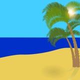 Zwei einsame Palmen auf einer exotischen Insel, ein wunderbarer Feiertag im Schatten von Palmen Abbildung Stockfoto