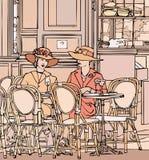 Zwei elegante Pariser Frauen stock abbildung