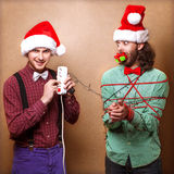 Zwei emotionale Santa Claus Lizenzfreies Stockbild