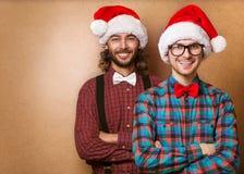 Zwei emotionale Santa Claus Stockbilder