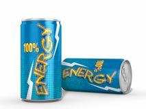 Zwei Energie-Getränk-Dosen gegen weißen Hintergrund Stockbilder