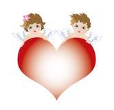 Zwei Engelsamoren für Valentinsgrußfeier Stockfotos