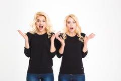 Zwei entsetzte überraschte blonde unterhaltende Schwesterzwillinge Stockfotografie