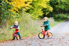 Zwei entzückende Jungen, die auf Fahrräder im Herbstwald fahren Lizenzfreie Stockfotografie