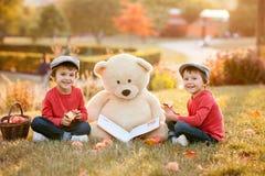 Zwei entzückende kleine Jungen mit seinem Teddybärfreund im Park lizenzfreie stockfotos