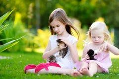 Zwei entzückende kleine Mädchen, die kleine Kätzchen mit Kätzchenmilch von der Flasche einziehen Stockbild