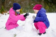 Zwei entzückende kleine Mädchen, die zusammen einen Schneemann im schönen Winterpark errichten Nette Schwestern, die in einem Sch Lizenzfreie Stockfotos