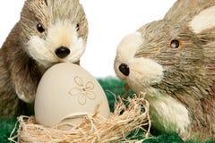 Zwei entzückende kleine Osterhasen lizenzfreies stockbild